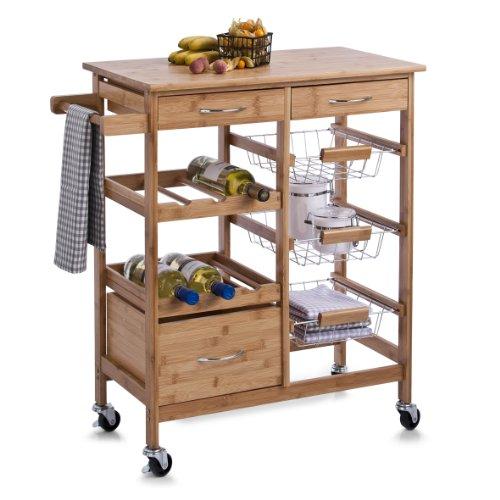 Zeller 13775 Küchenrollwagen mit Bambootop 66 x 38 x 84, - Küche Wagen Holz