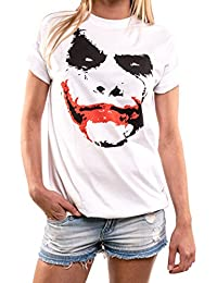 Schöne Shirts mit Aufdruck - Joker Shirt - große Größen Oversize Top weiß