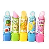 Weimay Borrador de lápiz de borrador de forma de lápiz de labios creativo para niños (4 piezas)