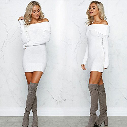 ALAIX Damen Sexy Long Pullover Pulli Langarm Oberteile Tops Weiß