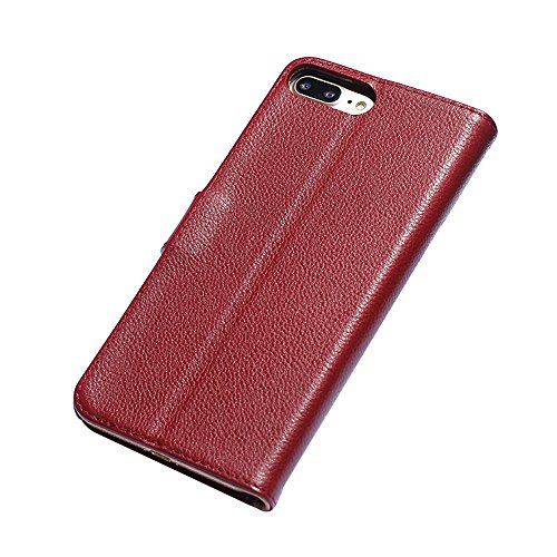 IPHONE 4 / 4G Cuir véritable Étui,EVERGREENBUYING - Litchi peau Étui [Béquille] Housse en Cuir iPhone4 Premium Etui de Protection Case Cover pour iPhone 4 / 4S Rouge Wine Rouge