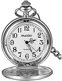 Mudder Regalo de Navidad clásico Lisa Vintage plata acero Mens Pocket Watch