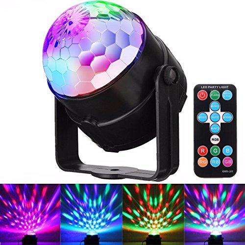 (Discolicht Partylicht, GLISTENY LED Disco Licht Partybeleuchtung RGB Controller bunten Kristall Magic Ball Strobe Kristall rotierende Beleuchtung Fernbedienung für KTV Ballroom Home Club Hochzeit)