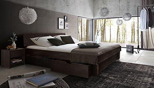 SAM® Massiv-Holzbett mit Bettkästen in Kernbuche wenge, geschlossenes Kopfteil, 100% FSC-zertifizierte Kernbuche, natürliche Maserung, massive widerstandsfähige Oberfläche, 180 x 200 cm [521653]