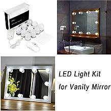 WanEway kit de lumière LED pour miroir de courtoisie de style Hollywood pour maquillage, lampe pour miroir cosmétique, lampe de coiffeuse table, luminaires eclairage de salle de bain pour make-up avec variateur et bloc d'alimentation, 4 mètres, miroir non inclus
