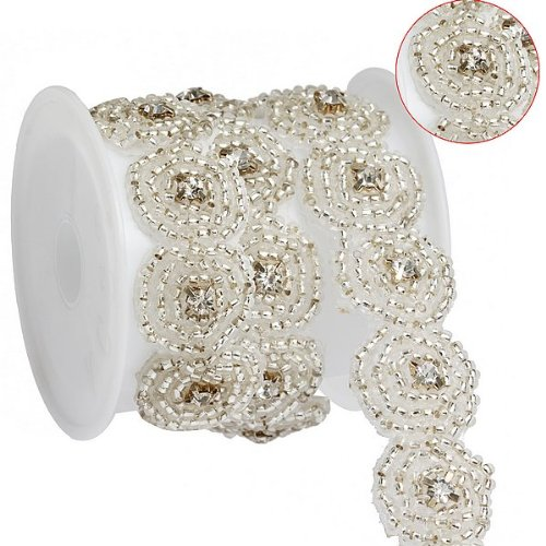 Blumenmuster Perlen Kleidung Kostüm Applikation Nähen trim trimmen i0239 (Perlen Applikationen Für Kostüme)