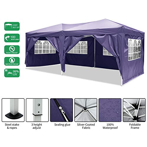 Laiozyen Gazebo 3mx6m, Tente de pavillon Pliable imperméable à l'eau, Tente de pavillon Pliante avec 4 côtés pour Jardin/fête/Mariage/Pique-Nique/marché (Violet)