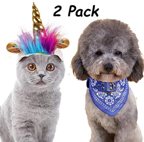 2er-Pack Haustier Kostüm Katze Kostüm Einhorn Kostüm Hut und Gratis Haustier Katze Hund Bandana für kleine Hunde Katzen Cosplay Kostüme für Haustiere Halloween Verkleidung Zubehör Party Kostüm (Einhorn Kostüm Hund)