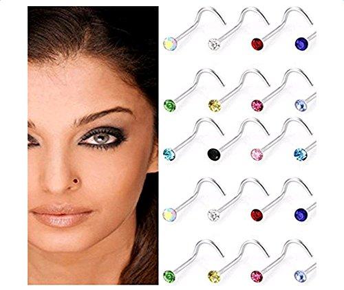 Hosaire 30 pcs Nasen-piercing Edelstahl Damen Farbe Nasenringe Nasenstecker Nasenpiercing