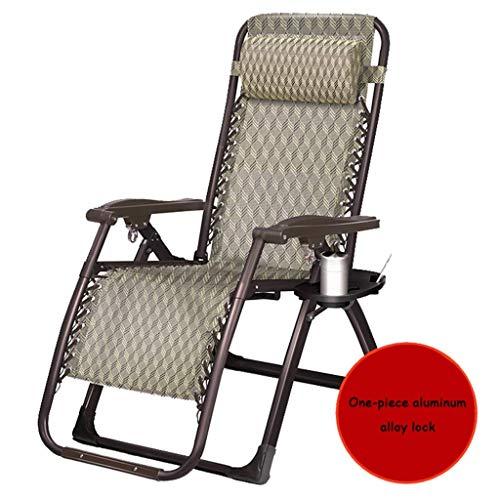 WJJJ Patio Stuhl Schwerelosigkeit Outdoor Stuhl Verstellbare Klappverriegelung Lounge Stühle Single Camp Bett Büro Siesta Bett Deck Deck (Farbe: BRAUN, Größe: 52 cm) -