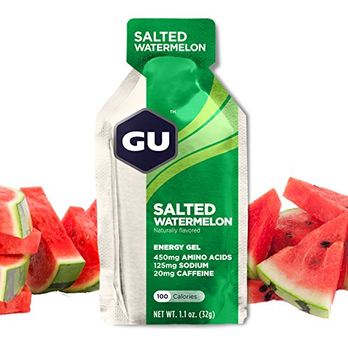 GU Energy Gel, Salted Watermelon (salzige Wassermelone), Box mit 24 x 32 g -
