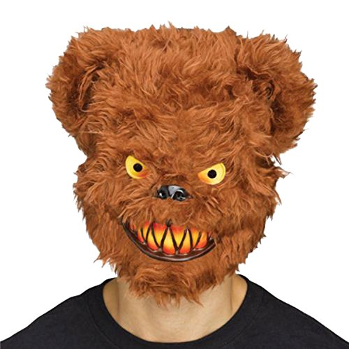 Halloween Killer Critter Furry Teddy Bär braun Evil Maske & Cape Party Kostüm