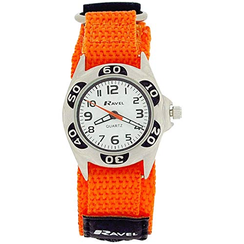 Ravel Quartz Jungenuhr weißes Zifferbl. & orange Klettarmband R1507.48