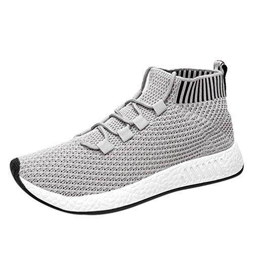 Preisvergleich Produktbild Ansenesna Sneaker Herren Sport Flach High Elastisch Atmungsaktiv Schnürschuhe Männer Outdoorschuhe Für Fitnessstudio (39,  Grau)