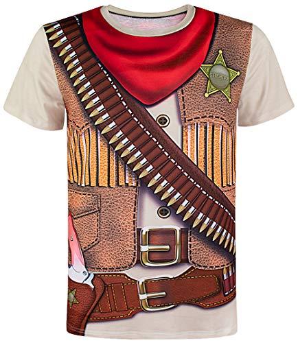 COSAVOROCK Herren Cowboy Kostüm T-Shirts (M)