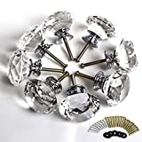 Clairty, 8 pomelli con taglio a diamante, di vetro trasparente, da 40 mm, per cassetto di cucina, maniglia per porta, mobili per camera da letto, comodino, comò e cabina armadio