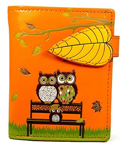 Shagwear portafoglio per giovani donne Small Purse : Diversi colori e design: (panchina arancione/ The Park Bench)