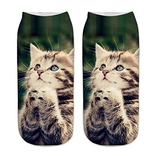 Quaan Mädchen Jungen Baby Beiläufig Arbeit Geschäft Socken 3D Niedlich Katze Drucken Mittel Sport Socken Gestrickt Häkeln Süßigkeiten Atmungsaktiv Weich absorbieren Schweiß ()