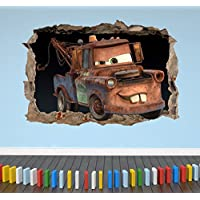 3D Cars Mater Smashed Breakout Wall Sticker Boys Girls Bedroom - Extra Large Landscape 100cm (w) X 70cm (h) preiswert