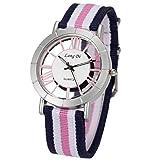 SIBOSUN Damen Quarz Armbanduhr Classic Casual Multi-Color Nylon gestreift Band Mode Damen Analog