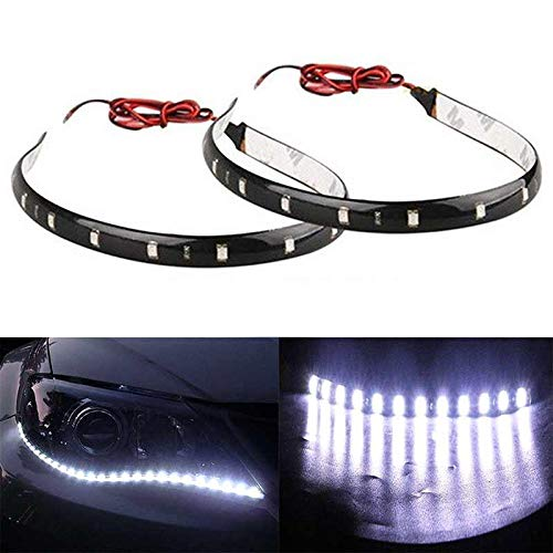 Preisvergleich Produktbild Wuudi LED-Streifen,  30 CM15SMD,  12 V,  wasserdicht,  für Boot,  Auto,  Wohnmobil,  Anhänger,  Auto,  Motorrad,  Innenbeleuchtung,  Außenbeleuchtung,  2 Stück,  weiß,  30 cm