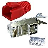 Ligawo VLS2 Netzwerk Stecker für Verlegekabel Cat.7 bis AWG22 (1 Stück) + Tülle rot