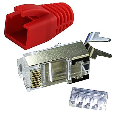 Ligawo VLS2 Netzwerk Stecker für Verlegekabel Cat.7 bis AWG22 (10 Stück) + Tüllen rot