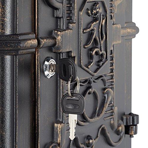 Relaxdays Standbriefkasten Antik HBT: 106 x 38 x 34 cm nostalgischer Säulenbriefkasten aus rostfreiem Aluminium englischer Briefkasten Postkasten in britischem Design mit Posthorn, bronze - 6
