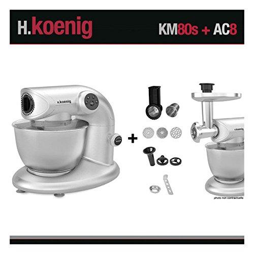 H.Koenig KM80s Robot Pétrin Multifonctions Gris et AC8 Accessoires pour KM80s