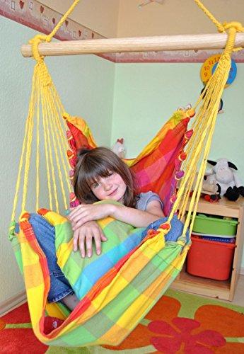 Kinderhängesessel mit Kuschelkissen in verschiedenen Farben zum Entspannen von HOBEA-Germany, Farben Hängesessel:Regenbogen