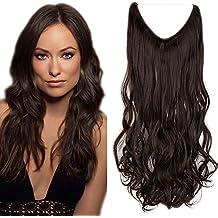 """24""""(60cm) Extensiones de Cabello de Hilo Una Pieza Rizada - Pelo Sintético Invisible No Clips - Wire Secret Hair Extensions [120g,Castaño Oscuro]"""