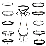 Lot de 12 Collier Choker Necklace 90's Ras de Cou Large Velour Noir Punk Gothique Fantaisie Goth
