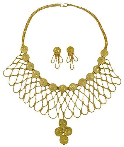 Matra Frauen Designer 18K Vergoldet Ginni Münze Halskette Set Traditionelle Hochzeits Schmuck (Gold Indischen Münzen-satz)