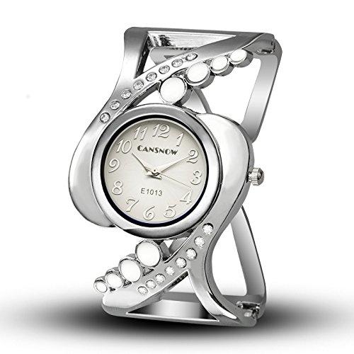 Damen Quarzuhr Mode Mosaik- Diamant Hohl Armband Uhr Legierung Gurt Uhr Mädchen Uhr,White -