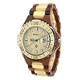 BEWELL Holz Armbanduhr mit dem Kalender wasserdichter Quarz Movement Round Dial Light Retro Fashion Uhren für Damen (Frauen, Roter Sandelholz Ahorn)