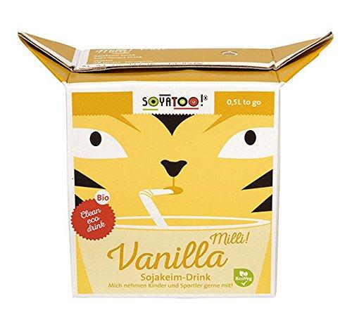 Preisvergleich Produktbild Soyatoo! BIO Milli! Vanilla Sojakeim Drink - 0, 5L ideal für unterwegs mit Trinkhalm - 12er Pack
