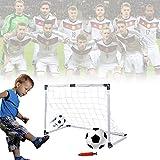 EMOTREE Kinder Spielzeug Mini Fußballtor Set 92x61x48 cm 2 Tore mit 1 Fußball mit Pumpe Kindergeschenk