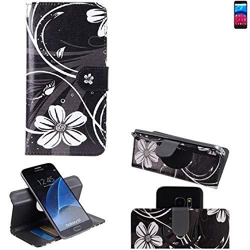 K-S-Trade Schutzhülle für Archos Core 60S Hülle 360° Wallet Case Schutz Hülle ''Flowers'' Smartphone Flip Cover Flipstyle Tasche Handyhülle schwarz-weiß 1x