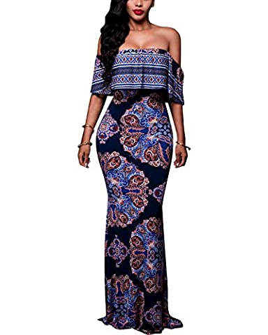 BIUBIU Women's Floral Off Shoulder Ruffle Bodycon Long Party Maxi Dress Style #5 Retro Blue UK 14