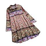 Cebbay T-Shirt Femme Col en v Ancien Imprimé Floral Manche Longue Revers Sweat-Shirt Chemisier Hauts Tee T Shirt Robe(Rose,FR-48(Buste:106-110))...