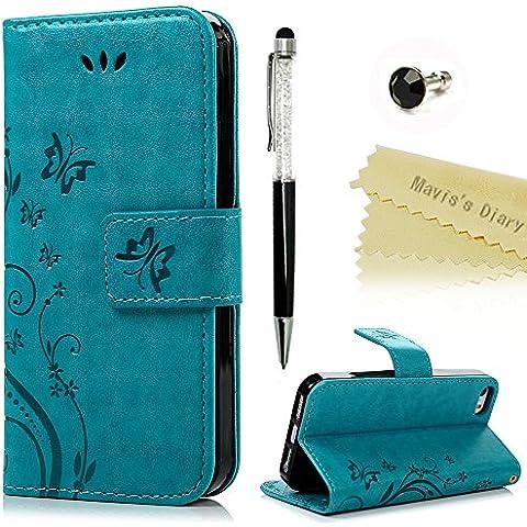 Mavis's Diary Funda Libro de Cuero para iPhone 5 / 5S / SE - PU Leather Impresión Carcasa Con TPU Silicona Case Cover,Con Flip Stand,Cierre Magnético,Función de Soporte,Billetera con Tapa para Tarjetas - Diseño de Mariposa y