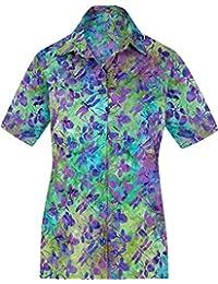 LA LEELA L'été des Femmes Top Plage hawaïenne Aloha Court Camp Manches hk265 Blouse décontractée