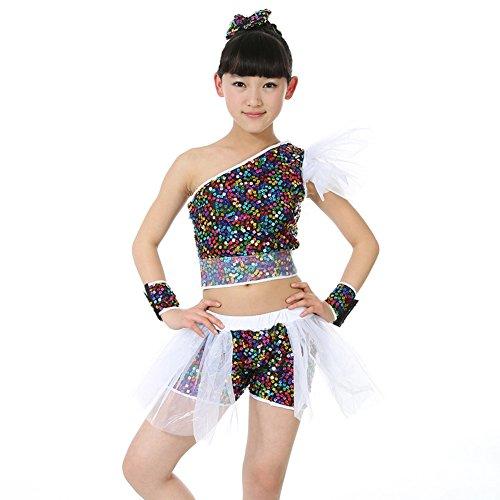 Byjia Mädchen Dancewear Kinder Jazz Dance Kostüme Pailletten Performance,Black,150Cm (Black Jazz Dance Kostüm)