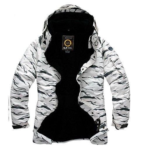 Southplay Mens Camouflage Wasserdichtes Ski-Snowboard Military Jacket White Camo (Large)