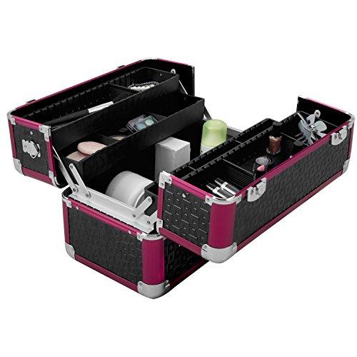 anndora Beauty Case Kosmetikkoffer Schminkkoffer Werkzeugkoffer Schwarz Rot Karo - 6