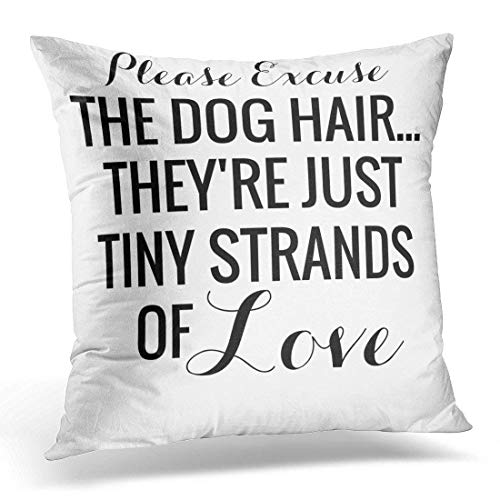 KENETOINA Throw Pillow Cover Black Funny Dog Hair Tiny Love Pet LOL Decorative Pillow Case Home Decor Square 18X18 Inches Pillowcase