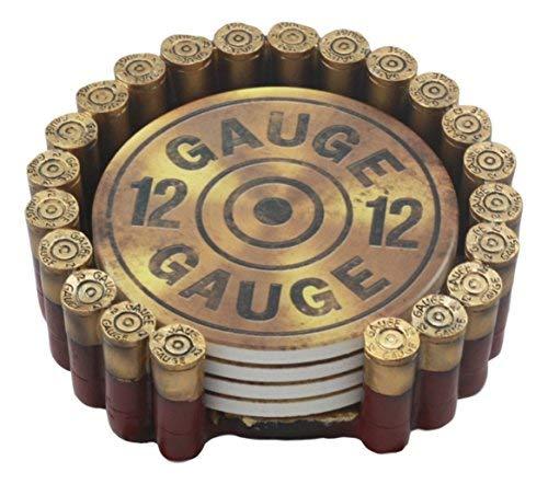 Ebros Western 12Gauge Shotgun Muscheln Hunter \'s Munition Rund Untersetzer-Set mit 4Untersetzer und Halter Deko Figur