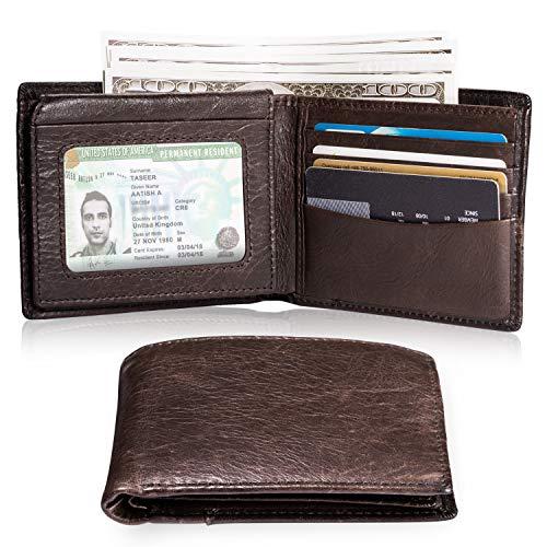 WOGREZ Herren Geldbörse Schlanke Ledergeldbörse Portemonnaie für Männer mit RFID Schutz Braun