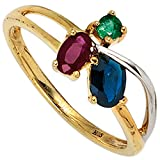 Ring Damen 14 Karat (585) Gelbgold teilrhodiniert Saphir 1 1 Rubin 1 Smaragd 56 (17.8)