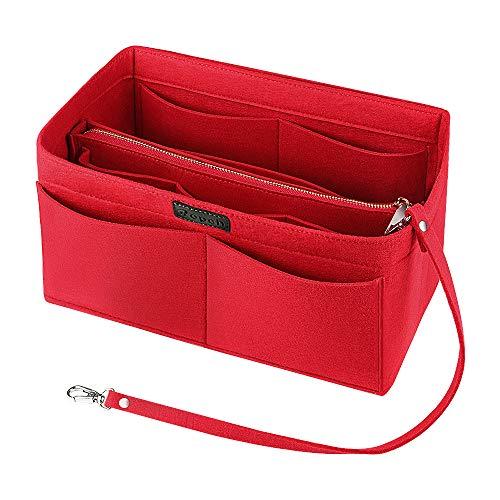 Ropch Taschenorganizer für Handtaschen, Filz Handtasche Organizer Taschen Organisator Kosmetikorganizer mit Reißverschluss-Tasche für Frauen, Rot - M